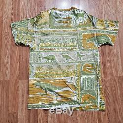 1993 Jurassic Park Vintage Promo All Over Print T Shirt L T-REX JP Single Stitch