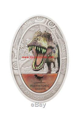 2oz Silver + Dinosaur Tooth! 1500 Francs, Congo 2014, T-Rex, TYRANNOSAURUS REX