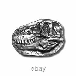 3oz. 999 Fine Silver T-Rex Dinosaur Fossil Skull Bar with Wood Crate IN STOCK