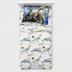 6 Piece JURASSIC World Comforter + Sheet + Blanket + Blue T-REX Dinosaur TWIN