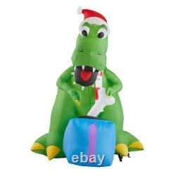 7 FT T-REX DINOSAUR WITH PRESENT Christmas Airblown Lighted Inflatable