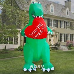 8ft Valentines Day Dinosaur T Rex Holding Sweetheart Lighted Airblown Inflatable