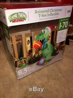 9' Lighted Animated T-Rex Dinosaur Presents Christmas Inflatable Airblown Gemmy