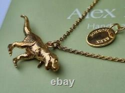 Alex Monroe Tyrannosaurus rex dinosaur necklace silver yellow gold T rex
