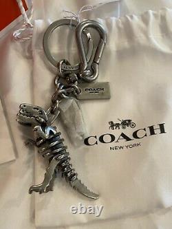 Authentic Coach 65133 T-rex Rexy Dinosaur Silver Charm Keychain Fob