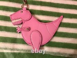 Brand New Pkg Kate Spade New York Rare Pink T-rex Dinosaur Leather Key Fob/chain