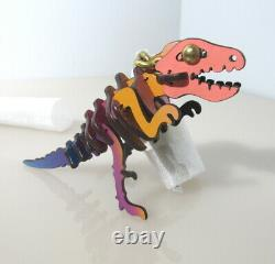 COACH $145 Dinosaur Rexy T Rex Key Ring Purse Bag Charm Rainbow Glitter 88778