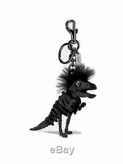 COACH $175 Dinosaur Mohawk Rexy T Rex Key Ring Purse Bag Charm Black
