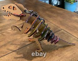 COACH $225 Rexy T Rex Dinosaur Key Ring Purse Bag Charm Rainbow Glitter 88778