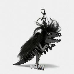 COACH $250 HUGE! Dinosaur Mohawk Rexy T Rex Key Ring Bag Charm Black 58498