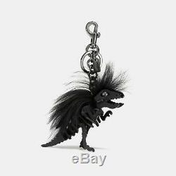 COACH LARGE Black Dinosaur T Rex Long Mohawk Rexy Bag Charm Key Fob GIFT BOX
