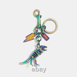 COACH Rexy Rainbow Bag Charm Metal Key Ring Chain Dinosaur T-Rex 54993 Unused
