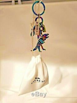 Coach Anodized Rexy T-Rex Dinosaur Bag-Charm Key-Chain Oil Slick Gift Bag NWT