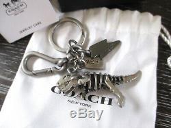 Coach Metal Rexy T-Rex Dinosaur Key Fob Chain Keychain Bag Charm 65133 RARE