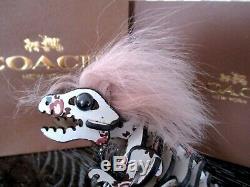 Coach Pink Mohawk Small Rexy T-Rex Floral Print Keychain Key Fob Bag Charm NWT