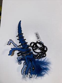Coach Small Pink T Rex Long Hair Mohawk Rexy Bag Charm Keychain 58499 w dust bag