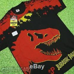 DS VTG 1993 Jurassic Park OG T Rex Dinosaur All over Print Sz XL Mens NWT Rare
