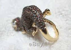 Dinosaur Ring T-rex 14k Gold Sapphire Diamond 3-d Tyrannosaurus Rex Ooak