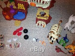 Fisher Price Imaginext Dinosaur T-rex Mountain 7 Cave Men many EXTRAS