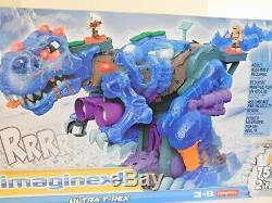 Fisher-Price Imaginext Dinosaurs Ultra T-rex rex New in Box Ice Blue 2 feet tall