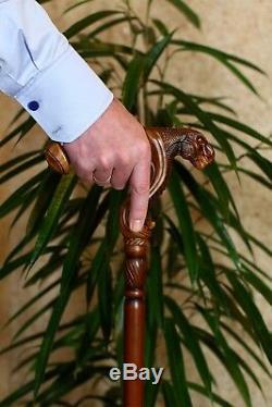 GC-Artis Wooden Walking Cane Stick Ergonomic Palm Grip Handle T-Rex dinosaur