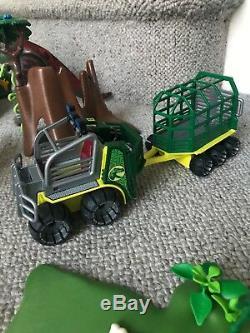 Huge Playmobil Erupting Volcano & Dinosaur Bundle T-Rex Triceratops Jeep Figures