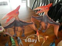 Huge plastic dinosaur toy lot dragon i t-rex 1987 playskool t-rex pterodactyls