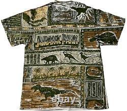 Jurassic Park Universal USC Amblin T-Rex Vtg 1993 All Over Print Hanes Shirt