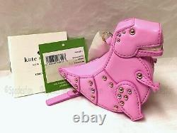 Kate Spade PWRU5374 Whimsies T-REX TRex 3D Coin Case Purse Keychain PINK NWT