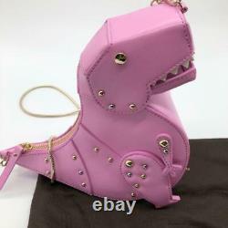 Kate Spade Pink T-Rex Dinosaur Shoulder Bag Crossbody Pochette Leather B029