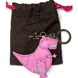 Kate Spade T-Rex Dinosaur Moveable Arms Leather Keychain Fob TRex