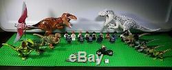 LEGO Jurassic World Lot Indominus Rex T Rex 4 Velociraptor 14 Mini Figs And More