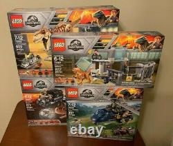 LEGO Jurassic World T. Rex Transport 75933, Carnotaurus 75929 Lot of 4 Sets New