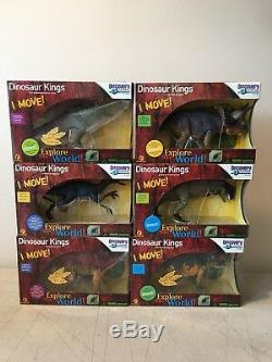 LOT OF 6 Discovery Channel Dinosaur Kings I MOVE VELOCIRAPTOR T-REX ALL NIBOX