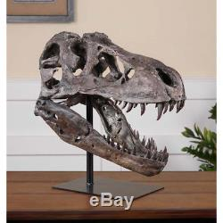 Large Dinosaur Skull Sculpture T Rex Head Natural Looking Bone Tyrannosaurus