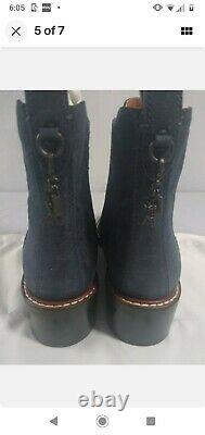 NEW! Coach Womens Leather sparkle boot Bootie blue Size 7 w box. T rex charm