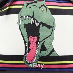 NEW SAINT LAURENT PARIS Dino T-Rex Canvas & Leather Dinosaur Black CITY BACKPACK