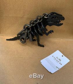 NWT COACH Small Rexy T Rex Dinosaur Bag Charm KeyChain in Black Leather
