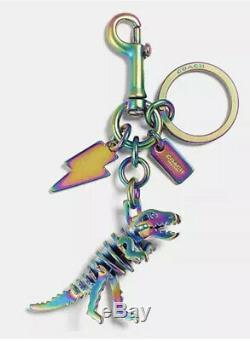 NWT Coach Anodized Rexy T-Rex Dinosaur Bag Charm Key Oil Slick 54993 in Gift Box