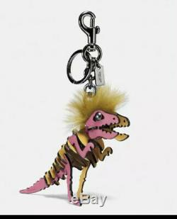 NWT Coach Small Pink T Rex Long Hair Mohawk Rexy Bag Charm Keychain 58499 $175