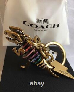 New Coach 29586 Glitter Metallic Rexy T-Rex Dinosaur Bag Charm Keychain Gift Box