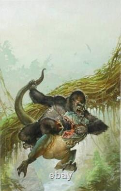 Original Cover Painting King Kong T Rex Dinosaur Skull Island Illustration Art