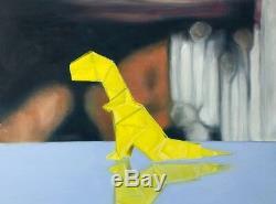 Original Oil Painting Framed Dinosaur Art, Origami Paper T-Rex, 18x24