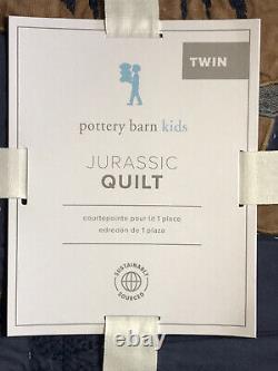 Pottery Barn Kids Jurassic Dinosaur Twin Quilt No Sham Navy T-Rex