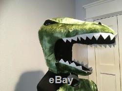Pottery Barn Kids T Rex Light Up Dino Dinosaur Halloween Costume Green 4-6