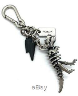 Rare! New Coach Dinosaur Rexy T-rex Silver Charm Key Fob Keychain Tag 65133