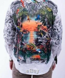 Robert Graham Lost Horizon T-Rex Dinosaur Embroidered Shirt 2xl FREE SHIPPING