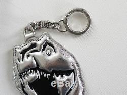 SAINT LAURENT Paris T-REX Dinosaur Silver Leather Keychain Holder Backpack Charm