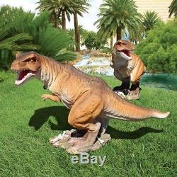 Scaled Jurassic T-Rex Raptor Design Toscano Hand Painted Dinosaur Statue