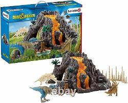 Schleich Dinosaurs Exploding Volcano With T-rex And Stegosaurus Figures Full Set